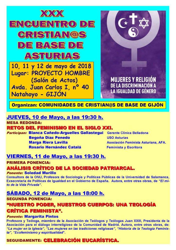 programa XXX Encuentro de Cristianos de Base de Asturias XXX Encuentro de Cristianos de Base de Asturias